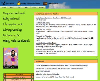 Screenshot of old Jessibird site