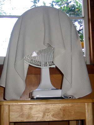fan with wet towel
